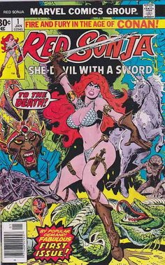"Red Sonja #1 Marvel Comics 1977 ""The Blood of the Unicorn."" Script by Roy Thomas and Clara Noto, art and cover by Frank Thorne. The Hulk stars in a one-page Hostess ad, ""The Green Thumb."""