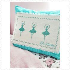 Ballerina cross stitch pillow for kids room