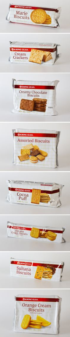 """Khong Guan Singapore - snacks and biscuits manufacturer. Photographed the biscuits and designed a facelift of their original """"checker series"""" biscuits. Most original elements must be retained like the checker pattern and the logo red band. To adhere to these restrictions, a fresher interpretation for these graphics have been applied.  #biscuitPackaging #packagingDesign #biscuitPhotography"""