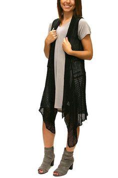 Black Crochet Duster Vest