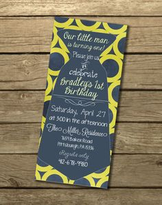 Little man tie birthday party invitation - DIY Printable