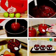Spiderman Carmel Apples by Rosanna Pansino | Nerdy Nummies Food Craft Fall