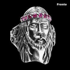 Anel de Prata Jesus Cristo com Zircônia. #fé #crito #anel #zirconia