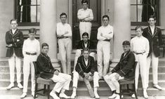 Samuel Beckett (second from the left) with his school cricket team in 1920. Photo courtesy of Portora Royal School via the Guardian