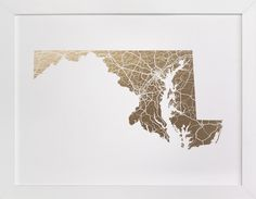 Maryland Map by GeekInk Design at minted.com