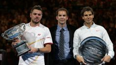 2014 Australian Open Champion Stan Wawrinka, Pete Sampras and Rafael Nadal