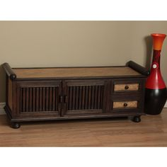 Update your home decor with this lovely Mail wood bench. This bench is equipped with plenty of storage space in drawers and on shelves.