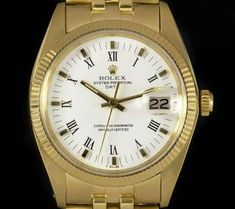 Rolex Date Vintage Gents Yellow Gold White Roman Dial 1503 Rolex Date, Popular Watches, Plastic Glass, Oyster Perpetual, Fashion Watches, Gold Watch, Dating, Roman Numerals, Yellow