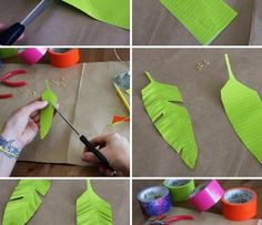 Fold 6 inches of tape back onto itself so you have a non-sticky piece of duct tape. Sketch a feather shape and cut out. For texture, cut slits and ruffle.