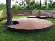 Beautiful, organic deck/bench.