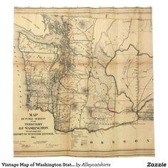 Vintage Map of Washington State (1866) Shower Curtain