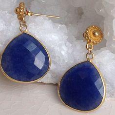 Dyed Blue Sapphire Dangle Vermeil Bali Post Earrings by MustardSeedTreasures on Etsy