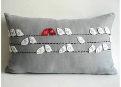 so cute-Sukan / decorative bird pillows - wildlife throw pillows - embroidered bird pillows - gray bird pillows - gray pillows - gray throw pillow Grey Pillow Covers, Grey Throw Pillows, Linen Pillows, Cushion Covers, Cushions, Applique Pillows, Sewing Pillows, Sewing Crafts, Sewing Projects