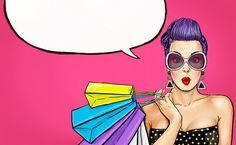 Pop Art girl with shopping bags. Comic woman. Sexy girl. Gift, amazed, wow, cute, lips, face, wow, makeup, wonder, temptation, luxury, birthday, vintage, voucher, love, boutique, cheeks, OMG, bubble