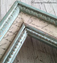 French Country Aged Script Frame (Inspiration)....could do this with the big garage sale mirror I bought a few years ago...now for some paper with french script on it!