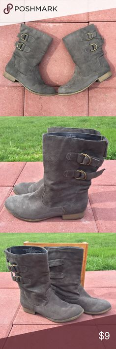 Gray Ankle Buckle Faux Suede Texture Boots Sz 8 Target brand • Gray, Ankle, Buckle, Faux Suede Texture Boots, Size 8 🎯  *Left boot has a glue spot on the inner side of the ankle area (pictured). It came that way from the factory.* Target Shoes Ankle Boots & Booties