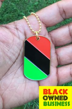 The post office in the United States might be moving a little slow (thanks TRUMP), but we are still on top of our game.  Thanks to a new network of Black suppliers, our RBG dogtags are available again. We wear these dog tags as a low-key way to keep our colors close to our heart.   Dont be surprised if you start seeing these dogtags everywhere! African American Flag, Black Entrepreneurs, African Culture, We Wear, Low Key, Post Office, Dog Tags, Dog Tag Necklace, Diy Jewelry