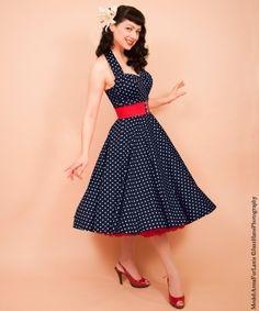 50s Halterneck Polka dot Dress from Vivien of Holloway | 1950s Dresses from Vivien of Holloway
