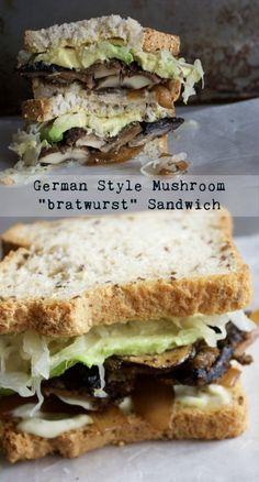 "German Style Vegan Mushroom ""bratwurst"" Sandwich • Plant based, vegan, healthy, savory & delicious!"