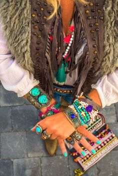 Bohemian style jewelry in the mix!
