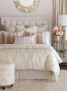 Luxury Bedding by Eastern Accents - Halo Collection - vintage rose ceiling - benjamin moore rosetone or tissue pink - Bedroom Design Ideas Modern Bedroom Decor, Master Bedroom Design, Dream Bedroom, Bedroom Designs, Blush Bedroom Decor, Diy Bedroom, Feminine Bedroom, Classy Bedroom Ideas, Pink Master Bedroom