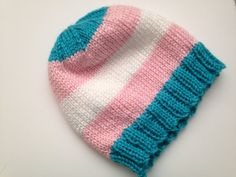 Trans Pride Beanie by QueerBeanies on Etsy