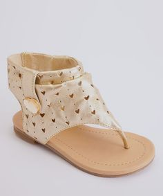 Take a look at this Gold Heart Gladiator Sandal by Launch on #zulily today!