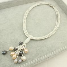 Leather NecklaceLeather Pearl Necklacehigh by WangDesignJewelry
