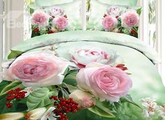 Blooming Pink Flower and Red Fruit Print 3D Duvet Cover Sets