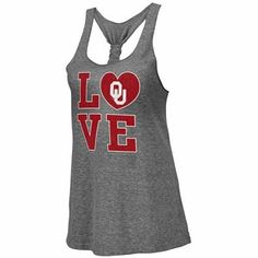 Oklahoma Sooners Ladies Forget Me Knot Tri-Blend Tank Top - Ash