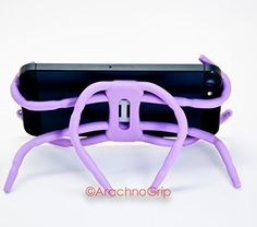 Premium Portable Cell Phone Spider Holder Convertible SmartPhone Stand Universal iPhone  Android  GalaxyFlexible Mount Purple -- To view further for this item, visit the image link.