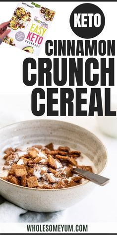 Start your morning off right with a little notstalgia. This cinnamon crunch cereal is exactly that - cinnamony and super crunchy! Pair it with your favorite nut milk and kick back with some Saturday morning cartoons. Find this recipe (+99 others!) in my Easy Keto Cookbook. #WholesomeYum