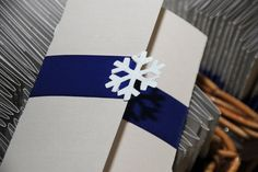 Simple Blue and White Wedding Invitations with Snowflake