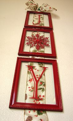 diy joy christmas decor - ribbon, thrift store frames spray painted, and painted on or vinyl stick-on letters