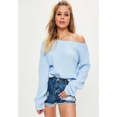 Missguided Off Shoulder Knitted Cropped Jumper (€22) ❤ liked on Polyvore featuring tops, sweaters, blue, cropped sweater, cropped off the shoulder sweater, off the shoulder sweater, blue top and off shoulder sweater