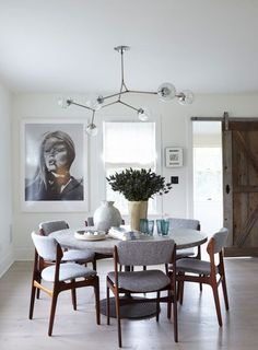 Round dining table and chandelier
