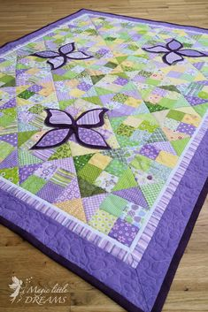 Patchwork quilt patterns - throw sized at inch with handmade butterfly appliques, patchwork decke from Magic Little Dreams – Patchwork quilt patterns Quilt Baby, Baby Girl Quilts, Girls Quilts, Quilts For Kids, Baby Quilt For Girls, Kid Quilts, Amish Quilts, Butterfly Quilt Pattern, Patchwork Quilt Patterns
