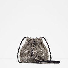 Image 1 of BEADED DRAWSTRING BAG from Zara