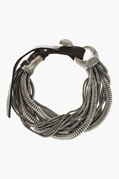 GOTI Silver Multi-chain leather-belted bracelet