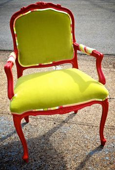 Frosted Pomegranate French Provincial Chair by SocietyInc on Etsy, $695.00