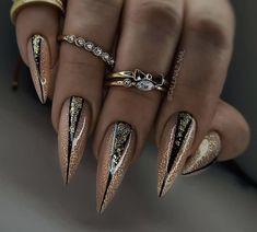 Teal Nails, Edgy Nails, Stylish Nails, Stiletto Nails, Glitter Nails, Nail Art Designs Videos, Long Nail Designs, Gorgeous Nails, Pretty Nails