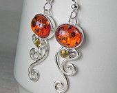 Amber Earrings - Spiral Swirl Earrings - Baltic Amber Citrine Earrings - Unique Amber Jewelry