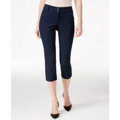 Alfani Petite Slim-Leg Capri Pants, ($60) ❤ liked on Polyvore featuring pants, capris, modern navy, capri trousers, navy capri pants, white trousers, alfani pants and petite white pants