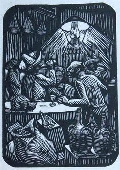 Colección Blaisten Abelardo Avila (1907 - 1967)  Cantina , ca. 2945  Grabado, madera de pie 12.2x8.6 cm.