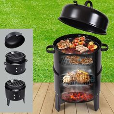 New Portable Charcoal Vertical Smoker Bbq Roaster Grill Steel . NEW Portable Charcoal Vertical Smoker BBQ Roaster Grill Steel smoker bbq cooking - Smoker Cooking Barbecue Grill, Barbecue Design, Charcoal Smoker, Best Charcoal Grill, Bbq Charcoal, Outdoor Oven, Outdoor Cooking, Smoker Cooking
