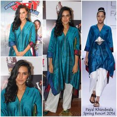 Neha Dhupia in Payal Khandwala paired with white wide legged pants and earrings from Curio Cottage.