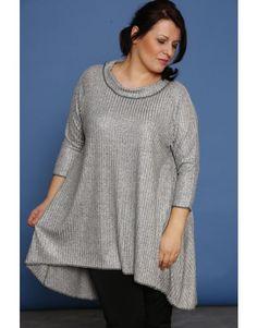 Asymetryczna tunika z golfem - rib delux/SE plus size womens fashion for curvy body.Outfit ideas. Moda dla pań o pełnej figurze