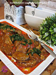 VioletoweKucharzenie: Karkówka po cygańsku z lubczykiem Pork Recipes, Cooking Recipes, Healthy Recipes, Good Food, Yummy Food, Pork Dishes, Best Appetizers, Food Design, I Foods