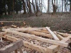 Timber frame construction build by replica of medieval axe - YouTube