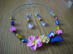 Necklace and earrings Pink Flower. by CreationsBella on Etsy, $32.00
